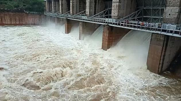 Water released from Panchna dam in Karauli on Thursday.(HT Photo)