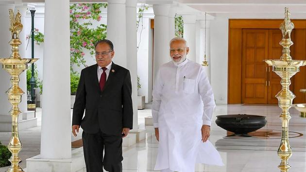 Prachanda, also the co-chairman of the Nepal Communist Party, called on PM Modi in New Delhi.(PTI)