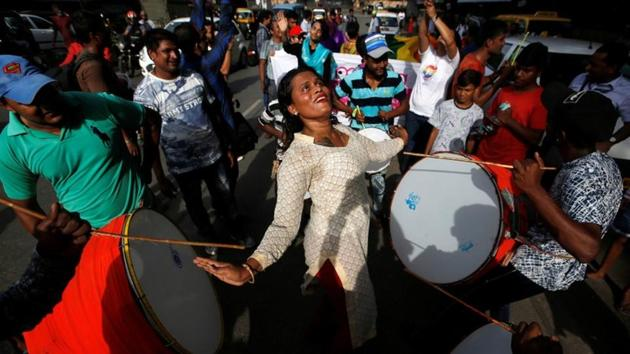 Supporters of the lesbian, gay, bisexual and transgender (LGBT) community celebrate after the Supreme Court's verdict of decriminalizing gay sex and revocation of the Section 377 law, during a march in Mumbai on September 6, 2018.(Reuters Photo)