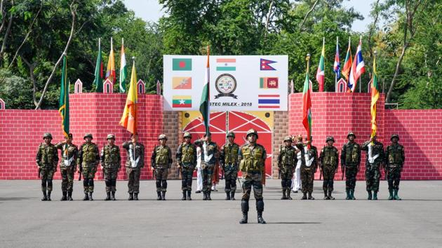 The BIMSTEC joint military exercise kicked off in Pune on Monday.(Sanket Wankhade/HT PHOTO)
