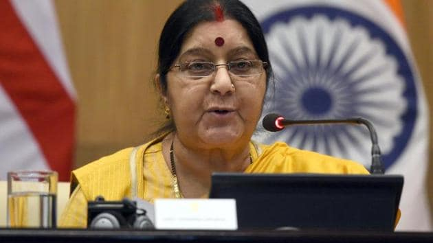 Union external affairs minister Sushma Swaraj(Sonu Mehta/HT File Photo)