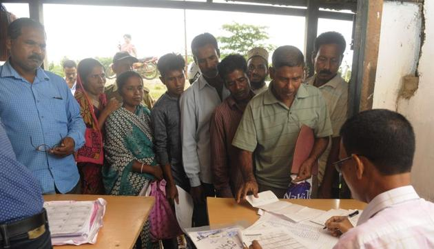 """A NRC Seva Kendra (NSK) in Rongpur 1 near Silchar in Assam.The state unit also appeared non-committal on the pending Citizenship (amendment) Bill, and said the """"issue is being examined"""".(HT Photo)"""