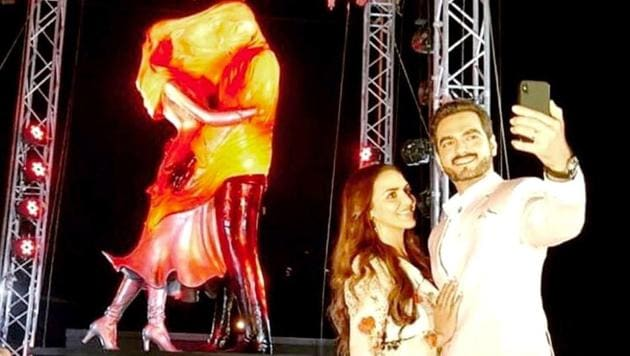Esha Deol and husband Bharat Takhtani unveil a Kasautii Zindagii Kay 2 statue in Mumbai. (Instagram)