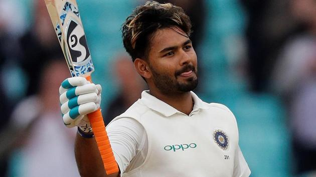 Rishabh Pant celebrates his century during play on the final day of the fifth Test cricket match between England and India.(AFP)