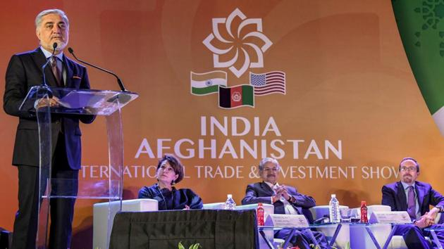 Afghanistan's Chief Executive Abdullah Abdullah (L) speaks at the 'Passage to Prosperity' India-Afghanistan Trade and Investment Show in Mumbai on September 12, 2018.(PTI)