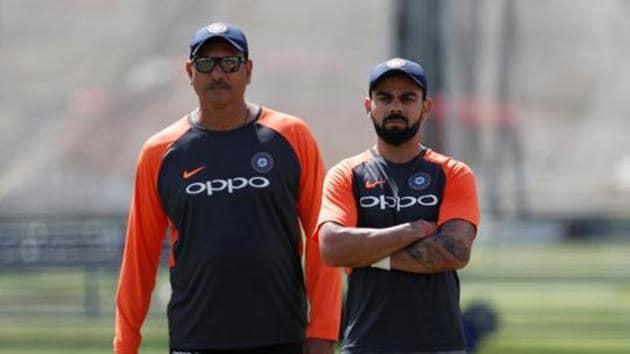 File image of India head coach Ravi Shastri and Virat Kohli during nets(Reuters)