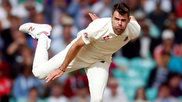 England's James Anderson in action during the fifth Test against India at the Oval.(REUTERS)