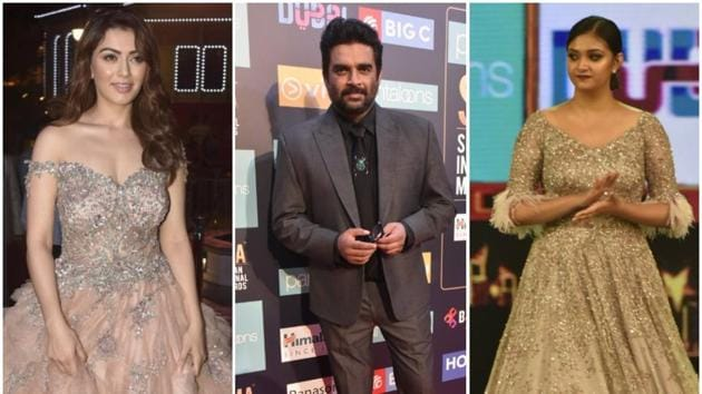 Hansika Motwani walked home with two awards (style and youth icon) while Madhavan won his awards in best actor critics choice and style icon categories.(Viral Bhayani)