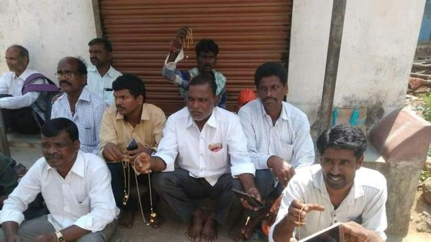 The husbands of the women who were asked to remove their mangalsutras raised a hue and cry outside the examination hall in Telangana.(HT Photo)