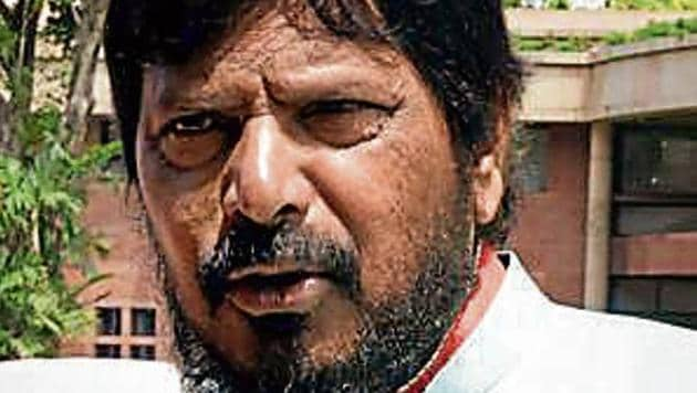 Union minister Ramdas Athawale said till a law is passed in the Parliament, the problem of reservation could not be solved.(HT File Photo)