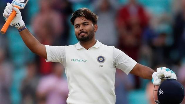 Rishabh Pant celebrates his century during the fifth Test match between India and England.(REUTERS)