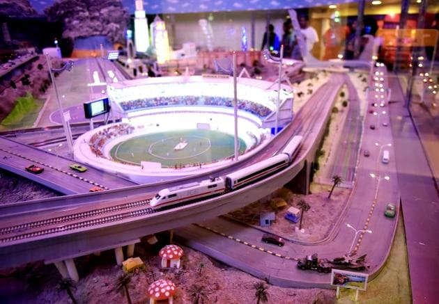A model showing the proposed Bullet Train running next to Wankhede Stadiumat the National Rail Museum in New Delhi.(HT PHOTO)