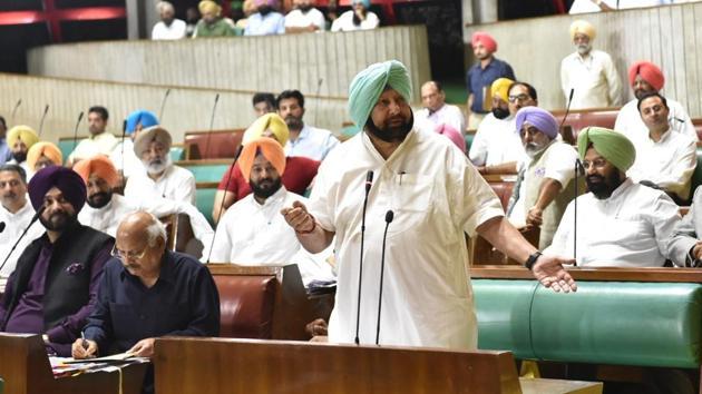 Punjab chief minister Capt Amrinder Singh at the Vidhan Sabha, Chandigarh, August 28, 2018(HT)