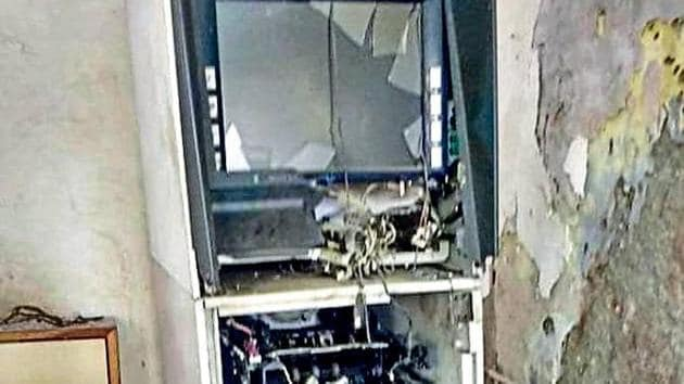 The ATM that was blown up at Nagina in Nuh.(HT PHOTO)