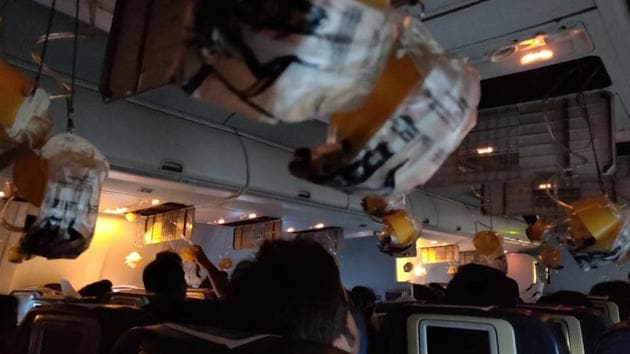 Oxygen masks are seen deployed after a loss of cabin pressure, on a Jet Airways flight, from Mumbai, India September 20, 2018 in this still image obtained from social media.(Reuters/ MELISSA TIXEIRA)