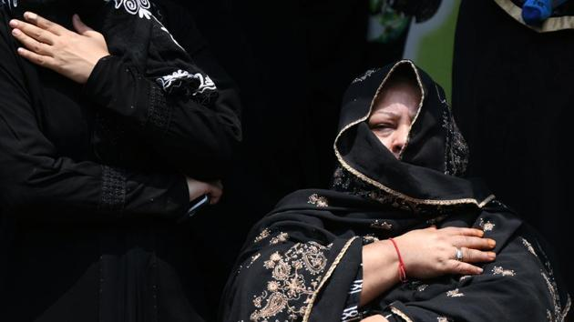 <p>Shiite Muslim women mourn as they watch a religious procession on the tenth day of the Islamic month of Muharram, which marks the day of Ashura and the...