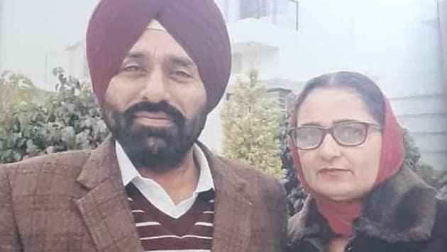File photo of Manjit Kaur with her husband.(HT)