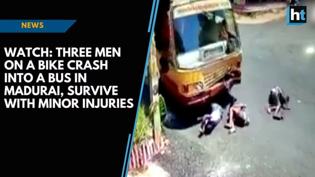 Three men on motorbike came under the wheels of a moving bus that belonged to the Tamil Nadu State Transport Corporation. The accident took place on September 16 in Madurai and was caught on camera. The riders escaped the accident with minor injuries. Moments later, a crowd gathered around the injured riders and helped them out under the bus. The riders were reportedly in an inebriated state and were taken to a nearby hospital.