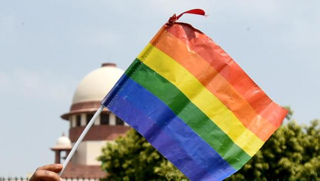Celebrations in Delhi after the Supreme Court's verdict on Section 377.(Sushil Kumar/HT PHOTO)