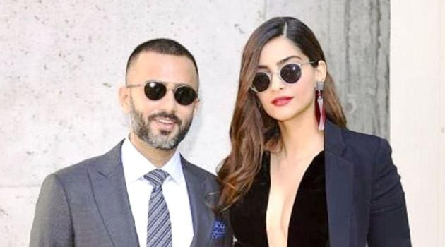 Sonam Kapoor and Anand Ahuja didn't leave each other's side at Giorgio Armani's spring/ summer 2019 show at Milan Fashion Week. (Instagram)