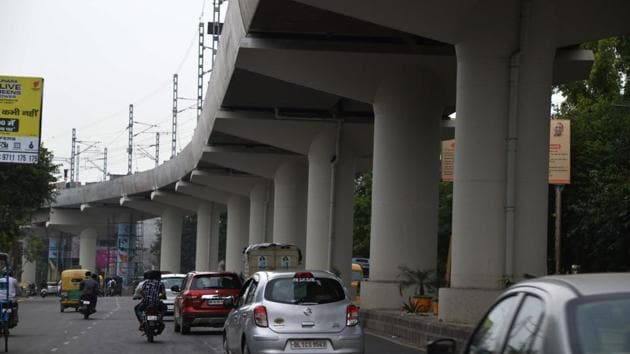 Ghaziabad, India -September 15, 2018: A view of New Bus Stand road, in Ghaziabad, India, on Saturday, September 15, 2018. To find out probable traffic bottlenecks outside the eight stations on the upcoming Metro stretch, the Ghaziabad development authority (GDA) has formed a committee of officials which will suggest alternate routes and means of accommodating passengers when the 9.41km metro route becomes operational by November. A meeting in this regard was also held with the officials of the Delhi Metro Rail Corporation (DMRC) on Wednesday. (Photo by Sakib Ali /Hindustan Times)** To go with Peeyush Khandelwal's story