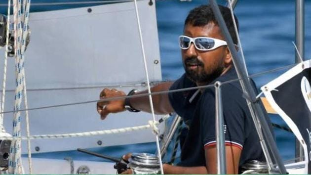 Commander Tomy was representing India during the Golden Globe Race 2018 but his indigenously-built 'Thurayi' boat lost its mast after being caught in a storm.(Picture courtesy: Indian Navy/HT Photo)