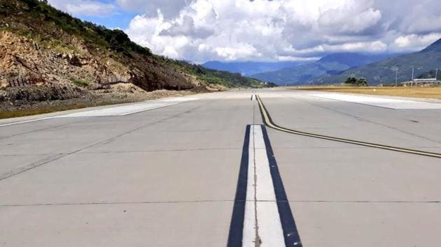 The Pakyong airport is spread over 990 acres and is the first greenfield airport to be constructed in the Northeast.(Picture courtesy: PMO India/Twitter)