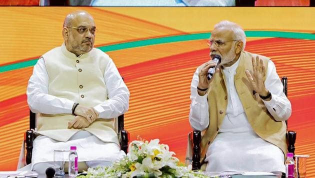 Prime Minister Narendra Modi and BJP president Amit Shah during BJP National Executive meeting, in New Delhi, Sept 9, 2018.(PTI File Photo)