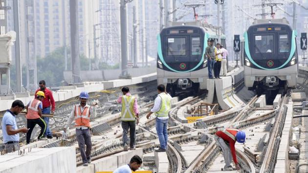 The Delhi Metro rail Corporation started a trial on 29.707 km Greater Noida to sector 71 metro station, in Noida, India, on Monday, August 20, 2018.(HT File Photo)