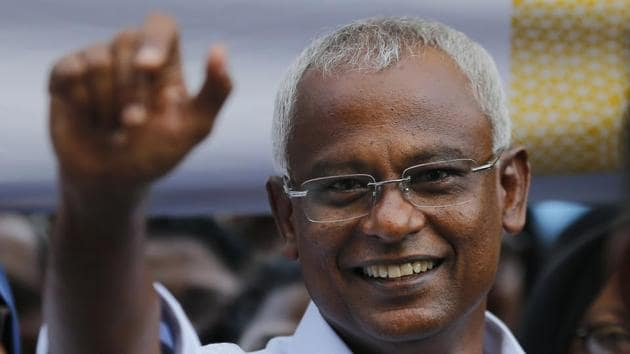 Ibrahim Mohamed Solih, the president-elect of the Maldives interacts with his supporters during a gathering in Male, Maldives, Monday, September 24, 2018.(AP Photo)