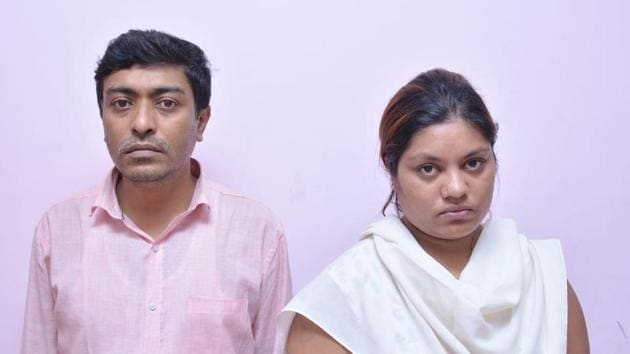 Two of the arrested fraudsters Sandeep Mitra and Neetha Shankar.(HT Photo)