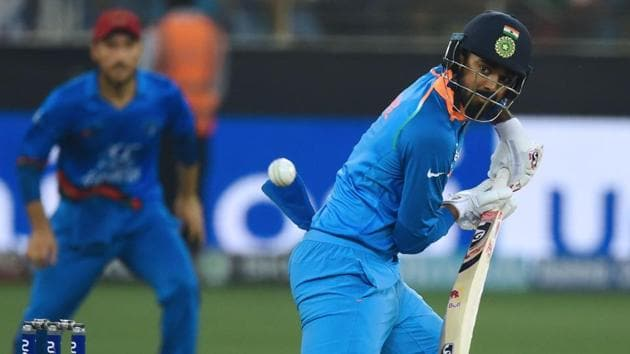 KL Rahul plays a shot during his knock of 60 against Afghanistan on Tuesday.(AFP)