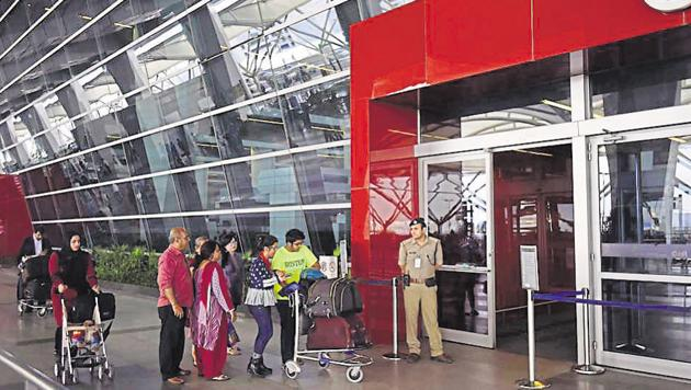 CISF security personnel during the security check at IGI Airport T3 in New Delhi.(HT File Photo)