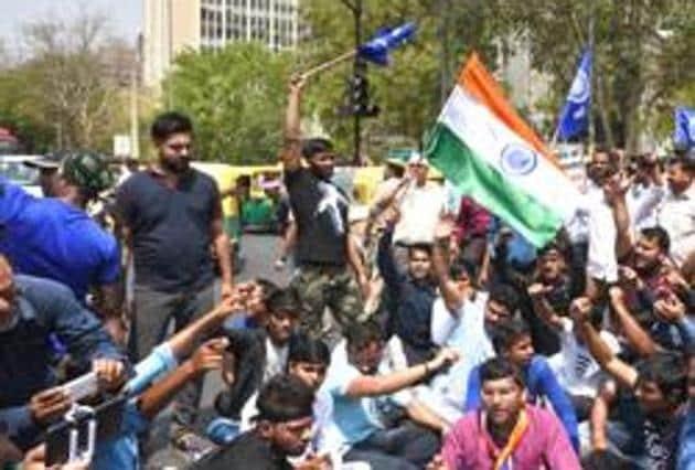 (Dalit protest HT PHOTO)