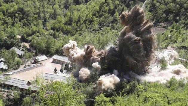 In this May 24, 2018 file photo, command post facilities of North Korea's nuclear test site are exploded in Punggye-ri, North Korea.(Representative Image/AP File Photo)