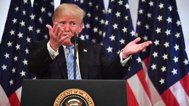 US President Donald Trump speaks during a press conference on September 26, 2018, on the sidelines of the United Nations General Assembly (UNGA) in New York.(AFP)