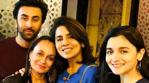 Ranbir Kapoor and Alia Bhatt pose with their mothers Soni Razdan and Neetu Kapoor at a birthday dinner on Thursday. (Instagram)