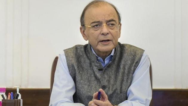 Finance minister Arun Jaitley addresses the GST council meeting via video conferencing at North Block, in New Delhi on September 28.(AP Photo)
