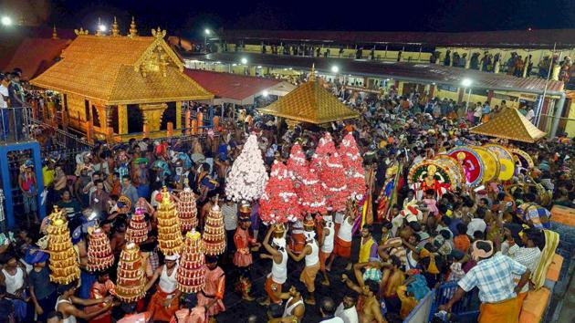 The argument that Lord Ayappa as a deity was a juristic person and cannot be denied his rights under the Constitution too was dismissed by the court.(PTI)