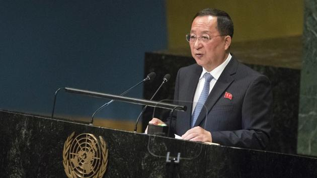 North Korea's foreign minister Ri Yong Ho (pictured) accused Washington of creating a deadlock in talks on denuclearisation of the Korean peninsula.(AP)