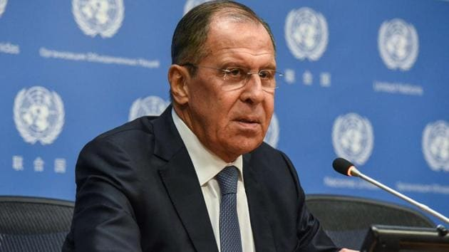 Russian foreign minister Sergey Lavrov holds a press briefing at the United Nations in New York City.(AFP Photo)