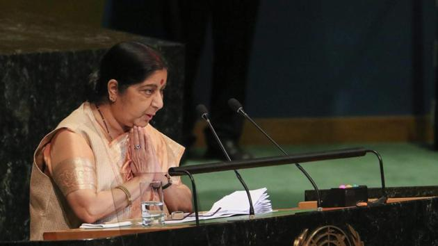 New York : External Affairs Minister Sushma Swaraj addresses the 73rd United Nations General Assembly, at the UN Headquarters.(PTI)