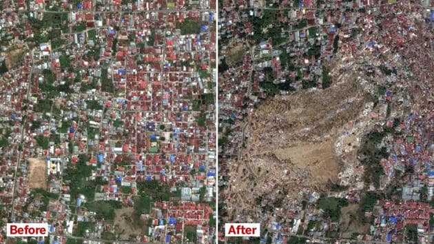 The Petobo neighborhood of Palu, Indonesia, on August 17, 2018, prior to an earthquake (left) and on October 1, 2018, after an earthquake and subsequent tsunami devastated the area.(Reuters Photo)