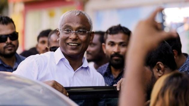 Maldivian president Ibrahim Mohamed Solih arrives at an event with supporters in Male, Maldives, September 24, 2018(REUTERS)