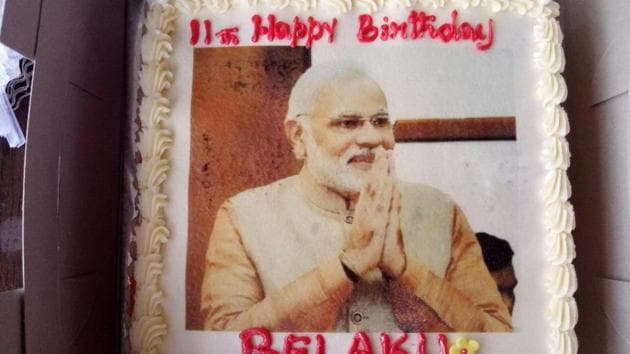 Belaku's father Mahesh Vikram Hegde had posted a picture of the birthday cake along with a message, saying his daughter had asked for Modi's photo on the cake.(Twitter)