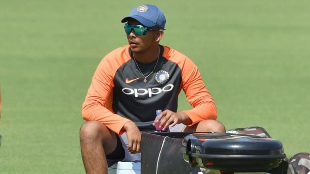 India cricketer Prithvi Shaw during a training session in Rajkot.(AFP)