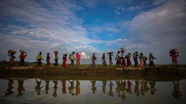 Rohingyas are reflected in rain water along an embankment next to paddy fields after fleeing from Myanmar into Palang Khali, near Cox's Bazar, Bangladesh on November 2, 2017.(Reuters/Representative image)