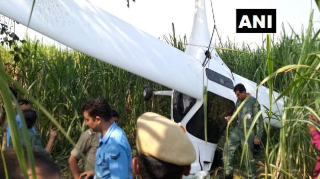 According to news agency IANS, the plane had taken off from the Hindon airbase in Ghaziabad and was reportedly participating in a drill for Air Force Day.(ANI/Twitter)