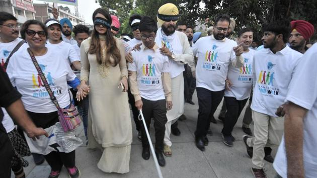 Last year, Navjot Singh Sidhu marched with blind students to mark World Sight Day at Sector 17, Chandigarh, October 12,2017(Hindustan Times)