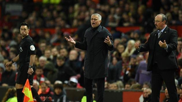 Manchester United's Jose Mourinho gestures during the match between Manchester United and Newcastle at Old Trafford.(AFP)